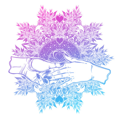 Female couple hold hands in spiritual flower frame.