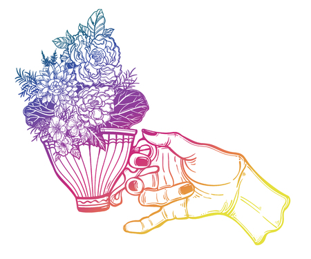 Hand holding a magic tea or coffee cup field summer flowers, bouquet sketch. Stock Photo