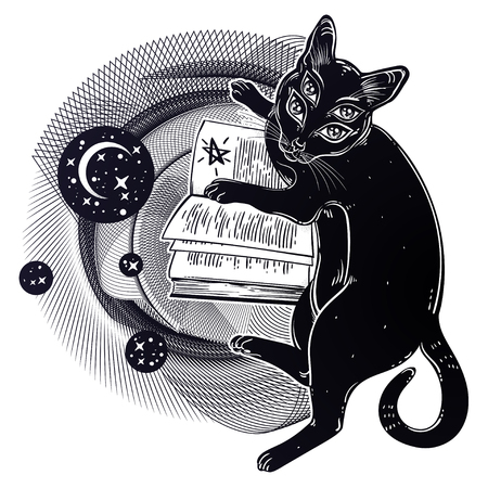 Smart black boho four eyed demon magic cat reading the necronomicon book. Kitten is studying Gothic occult witchraft concept in space circle geometric shape with moon. Vector isolated illustration.