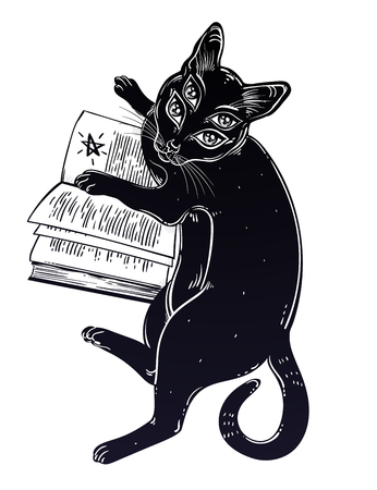 Smart black boho four eyed demon magic cat reading the necronomicon book.