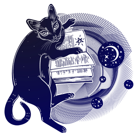 Smart black cat reading the magic book. Kitten is studying Gothic occult knowledge or witchcraft concept in space circle geometric shape with strars and crescent moon. Vector isolated illustration.