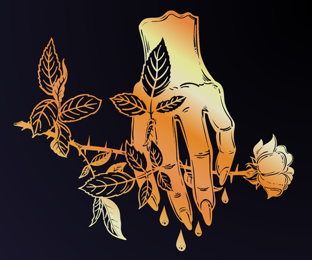Linear art of a stylized evil female human hand holding a rose. Gothic woman is bleeding. Sacrifice, sad relationships, painful love and romance. Vintage retro tattoo. Vector isolated illustration.