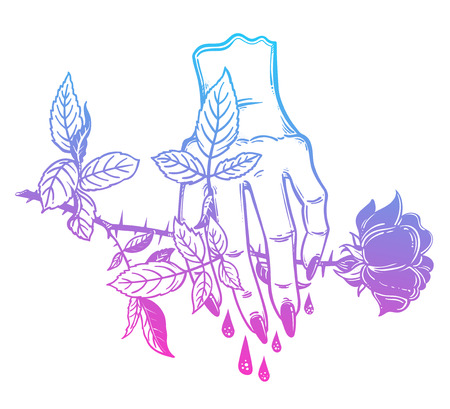 Female bleeding human hand holding a rose.