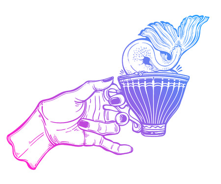 Hand holding a magic cup a whale or mermaid tale diving into the water. Banque d'images - 111746854