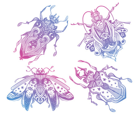 Magic beetles and bugs set. Fantasy ornate insects for design.