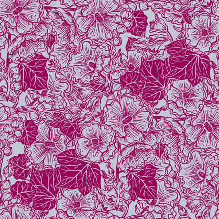 Wild summer Malva flowers, field bouquet of Hawaiian hibiscus or Mallow seamless pattern. Elegant floral blossom background, romantic decoration. Botanical vector isolated tile. Illustration