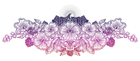 Decorative malva flowers composition with moon. Hawaiian hibiscus flower or Mallow. For cards, invitations, tattoo, banners, posters, print design. Blossom and nature isolated vector illustration.