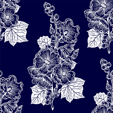 Wild summer Malva flowers, field bouquet of Hawaiian hibiscus or Mallow seamless pattern. Elegant floral blossom background, romantic decoration. Botanical vector isolated tile. Ilustracja