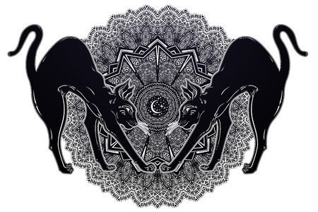 Vintage black cat with arched back cat with magic mandala - symbol of goddess Bastet. Ornamental composition with sacred geometry. Alchemy, spirituality, occultism. Isolated vector illustration.