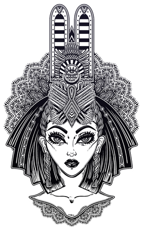 Egyptian woman with beautiful ritual head piece. Illustration