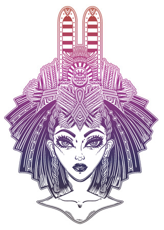 Egyptian woman with beautiful ritual head piece. Ilustração