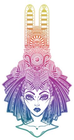 Egyptian woman with beautiful ritual head piece. Banco de Imagens