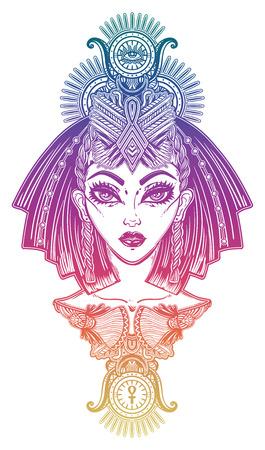 Egyptian woman with beautiful ritual head piece. Stock Illustratie