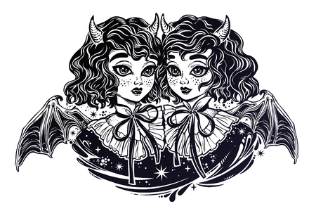 Gothic Victortian twin witch demon vampire girls heads portrait. Siamese twins. Ideal Halloween, tattoo, weird, psychedelic art for print, posters, t-shirts and textiles. Vector illustration