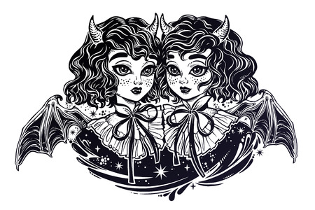 Gothic Victorian twin witch demon vampire girls heads portrait.