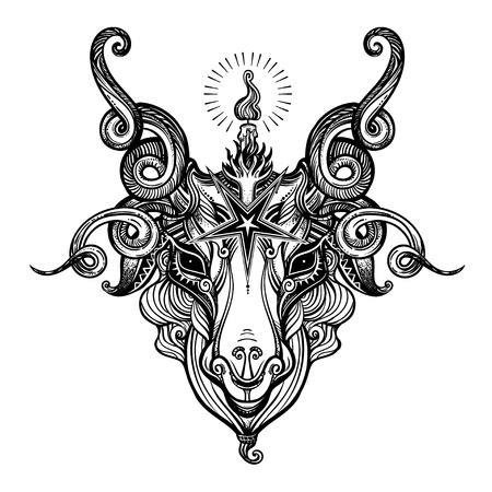 Pentagram sign head of demon Baphomet. Satanic goat head. Binary satanic symbol. Vector illustration isolated. Tattoo design, retro, music, summer, print symbol for biker black metal themes. Ilustração