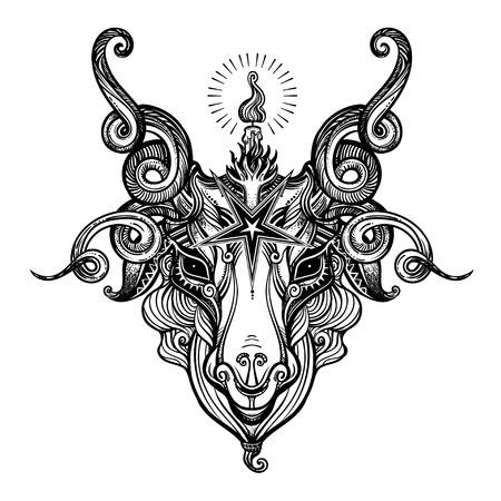 Pentagram sign head of demon Baphomet. Satanic goat head. Binary satanic symbol. Vector illustration isolated. Tattoo design, retro, music, summer, print symbol for biker black metal themes. Illustration