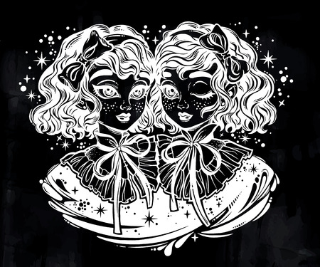 Gothic Victorian twin witch girls heads portrait with curly hair. Gemini, siamese twins. Ideal Halloween, tattoo, weird, psychedelic art for print, posters, t-shirts and textiles. Vector illustration