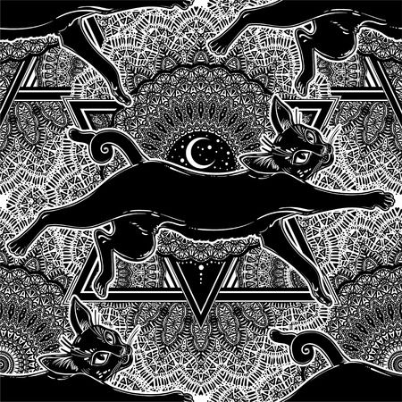 Black cat jumping seamless pattern on top of ornate crescent moon.