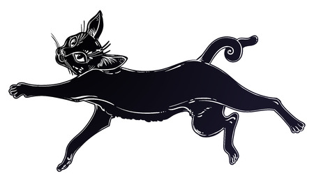 Black cat running or jumping silhouette portrait. Ideal Halloween background, tattoo art, boho design. Perfect for print, posters, t-shirts,textiles. Vector illustration. Vettoriali