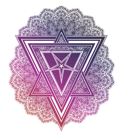 Triangle composition with ornate pattern and satanic pentagram star.