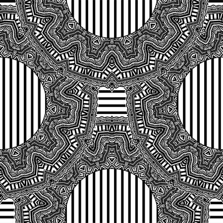 African magic geometric folklore ornament. Tribal ethnic vector seamless texture. Striped pattern in Aztec style. Complex tribal embroidery. Indian, Scandinavian, Gypsy, Mexican, folk pattern.