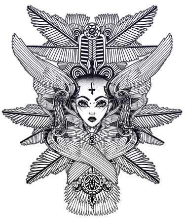 Portrait of the ancient Egypt winged goddess with shaved head.  イラスト・ベクター素材