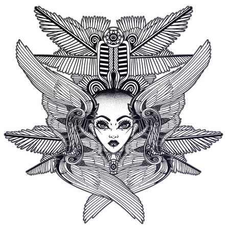 Portrait of the ancient African winged goddess with shaved head.  イラスト・ベクター素材