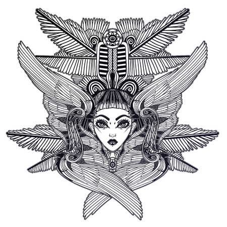 Portrait of the ancient Egyptian winged goddess.  イラスト・ベクター素材