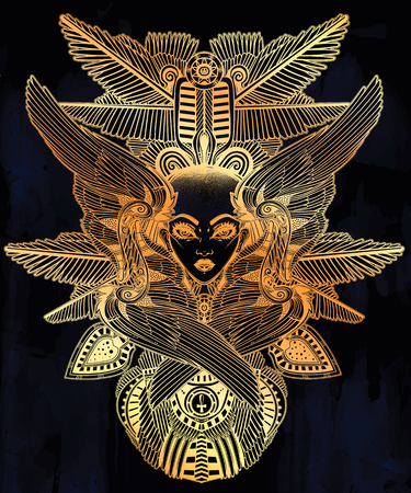 Portrait of the ancient African winged goddess with shaved head. Illustration