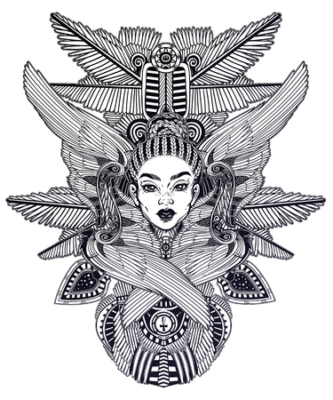 Portrait of the a beautiful African winged goddess.  イラスト・ベクター素材