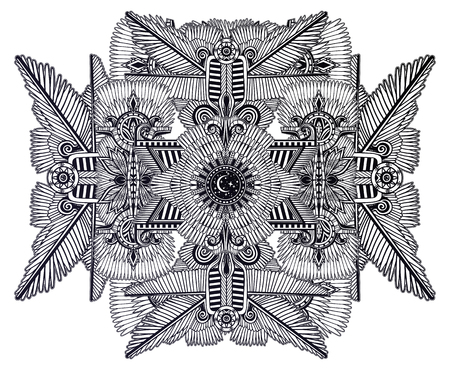 African alchemy and magic geometry folklore ornament. Tribal ethnic vector. Feather art in ancient style. Complex tribal embroidery. Indian, Gypsy, Mexican, folk tattoo.