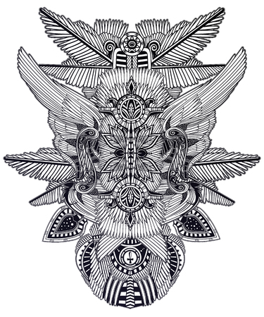 African abstract magic geometric folklore ornament. Tribal ethnic vector. Feather art in ancient style. Complex tribal embroidery. Indian, Gypsy, Mexican, folk tattoo.