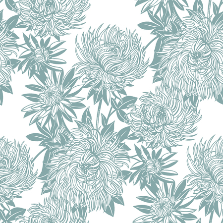Blossoming Chrysanthemum or Aster flower composition seamless pattern. Elegant floral blossom background, romantic decoration. Botanical vector isolated tile.