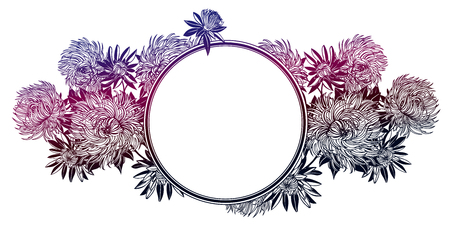Blossoming Chrysanthemum or Aster flower composition, with circle frame. Decorative flowers on a stem. For cards, tattoo, banners, posters, print design. Nature isolated vector illustration. Ilustrace