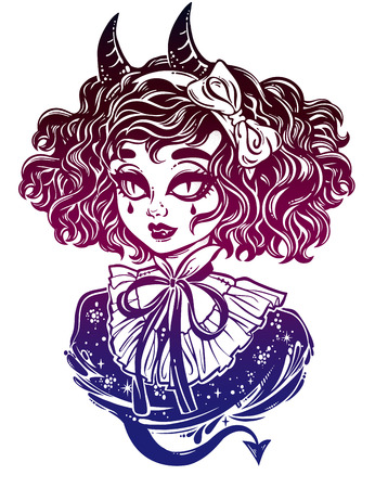 Gothic Victorian demonic girl head portrait with inp horns and curly hair and strange eyes. Ideal Halloween, tattoo, weird, psychedelic art for print, posters, t-shirts. Vector illustration