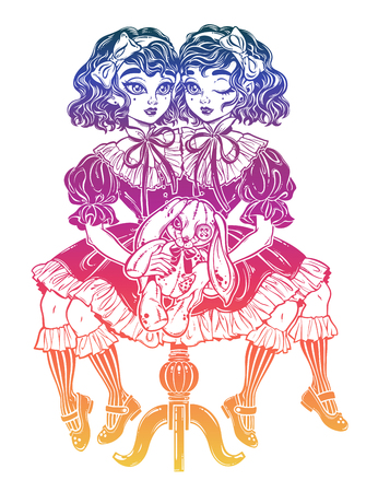 Gothic Victorian twin siamese witch girls with vintage aged stuffed toy. Gemini, conjoined twins. Ideal Halloween, tattoo, weird, psychedelic art for posters, t-shirts. Vector illustration.
