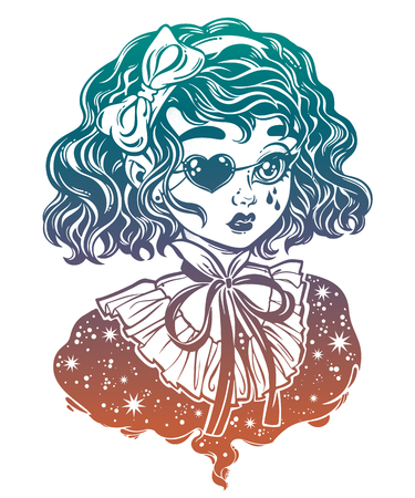 Gothic Victorian girl head portrait with eye patch curly hair