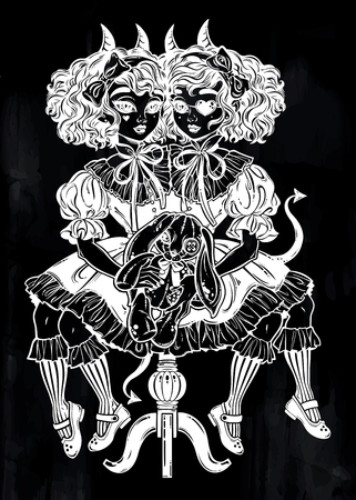 Gothic Victorian twin siamese demonic girls with voodoo stuffed toy and imp horns. Gemini, conjoined twins. Ideal Halloween, tattoo, weird, psychedelic art for posters, t-shirts. Vector illustration.