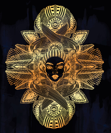 Portrait of the a beautiful African winged goddess. Illustration