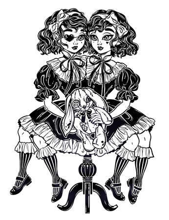 Gothic Victorian twin siamese witch girls with vintage aged stuffed toy and eye patch. Gemini, conjoined twins. Halloween, tattoo, weird, psychedelic art for posters, t-shirts. Vector illustration.