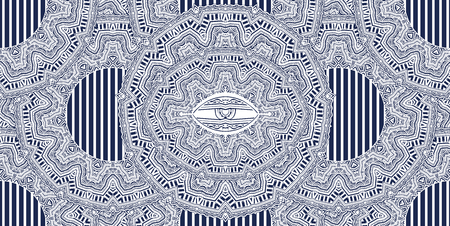 African geometric folklore ornament with magic eye. Illustration