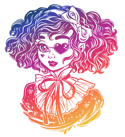 Gothic Victorian girl head portrait with heart shaped eye patch and curly hair. Ideal Halloween, tattoo, weird, psychedelic art for print, posters, t-shirts and textiles. Vector illustration
