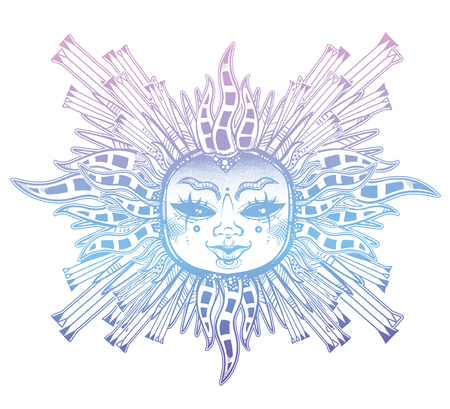 Fantasy inspired tribal sun star with a human face. Ornamental decoration, folk print Ilustração