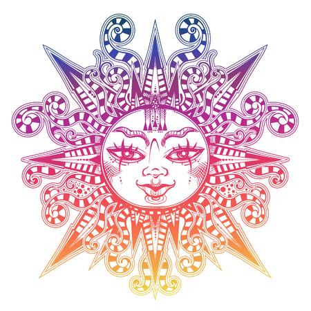 Striped tribal sun star with a human face. Ornamental decoration, folk print. Ethnic tattoo art. Isolated vector illustration. Trendy T-shirt print. Spiritual alchemy symbol. Halloween sticker.