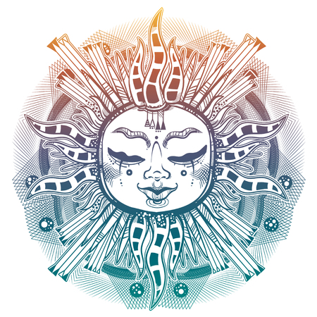 Striped tribal sun star with a human face. Ornamental decoration, folk print. Ethnic tattoo art. Isolated vector illustration. Trendy T-shirt print. Spiritual alchemy symbol. Halloween sticker.