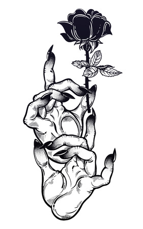Demonic Gothic witch hands with dark long nails and black rose. Witchraft extravaganza. Mystic fantasy gesture. Ink art for print, posters, t-shirts and textiles. Vector isolated illustration. Illustration