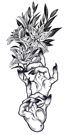Demonic Gothic witch hands with dark long nails and lily flower stem. Witchraft extravaganza. Mystic fantasy gesture. Ink art for print, posters, t-shirts and textiles. Vector isolated illustration.