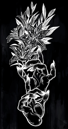 Demonic Gothic witch hands with dark long nails and lily flower stem. Witchcraft extravaganza. Mystic fantasy gesture. Ink art for print, posters, t-shirts and textiles. Vector isolated illustration. Stock Illustratie