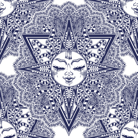 Fantasy inspired winged tribal sun star with a human face seamless pattern.